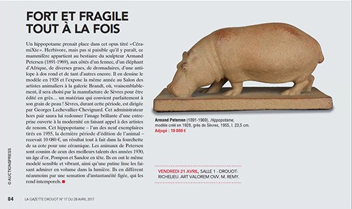 087   P049.3   Hippopotame   sevres   170421   article gazette drouot
